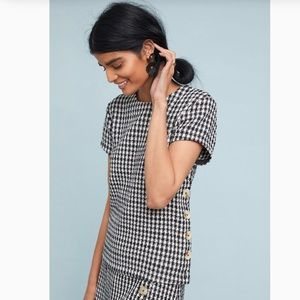 ANTHROPOLOGIE MAEVE TOWNSEND HOUNDSTOOTH TOP SZ 10